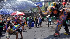Songkran Water Festival, known as the Water Festival by visitors, falls shortly after the spring equinox and is celebrated annually in Thailand.