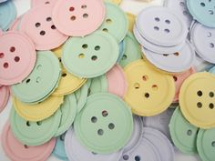100 Embossed mixed pastel button punch die cut cutout scrapbooking embellishments - No437. $3.00, via Etsy.