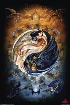 A fabulous Yin Yang artwork. Arte Yin Yang, Yin Yang Art, Yin Yang Tattoos, Fantasy Kunst, Fantasy Art, Ying Yang Wallpaper, Yen Yang, Angels And Demons, Dragon Art