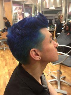 Pravana Blue Men's hair. C. Rivera Hair.