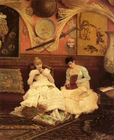 Oil painting georges croegaert - a quiet moment two girls with their jewelry box Vintage Photos Women, Academic Art, Tumblr, Quiet Moments, Classical Art, Belle Epoque, Art Techniques, Art World, Japanese Art