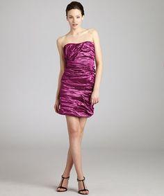 Nicole Miller metallic magenta strapless taffeta dress | BLUEFLY up to 70% off designer brands at bluefly.com