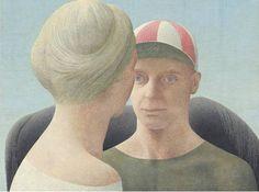Alex Colville: Woman, Jockey and Horse, 1952 (Alex Colville/AC Fine Arts) Alex Colville, Canadian Painters, Canadian Artists, Royal Ontario Museum, Magic Realism, Portraits, Couple Art, Summer Art, Figure Painting