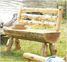 Build a Rustic Log Bench #RusticLogFurniture