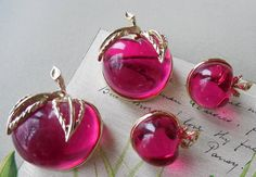 Vintage Sarah Coventry BURGUNDY Red Lucite by CornermouseHouse, $20.00