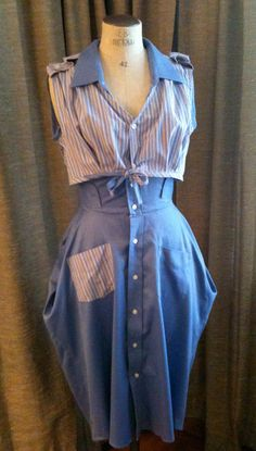 Recycled / Upcycled Men's Dress Shirt Dress and Bolero Set  for Wedding, Party, Croquet size 4/6. $180.00, via Etsy.