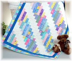 This will surely become your favorite quilt. Cut strips in lengths, and you can use scraps as small as x You will be amazed at how many quilts you can make once you get started. It is so much fun to see how the fabrics come t. Cute Quilts, Boy Quilts, Girls Quilts, Small Quilts, Quilt Baby, Colchas Quilting, Quilting Projects, Quilting Designs, Quilting Board