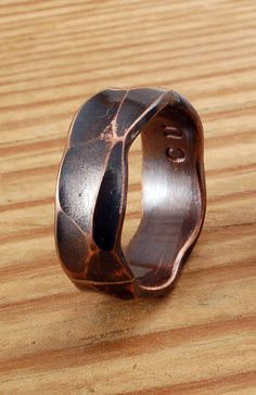 FACETED COPPER RING - Architectural Ring - Copper Ring - Wide Ring Band - Textured Band - Wedding Band - For Man, Woman & Child! by TheRingForge on Etsy https://www.etsy.com/listing/183083560/faceted-copper-ring-architectural-ring