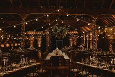 Wooden Banquet Tables | Foliage Table Runners | White Tapered Candles | Rosemary Sprig Place Settings | Foliage Hanging Decoration | Kinkell Byre Wedding Venue | Festoon Light Canopy and Indoor Trees for Humanist Wedding in St Andrews | Carla Blain Photography