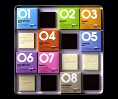 100% Chocolate Cafe, Japan. The packaging displays a numeric value for each chocolate type via @tomjohn001