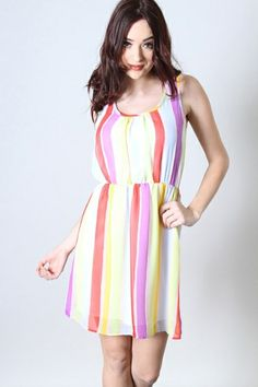 *** New Style ***STRIPED CHIFFON DRESS WITH KEYHOLE BACK AND ELASTIC WAIST. FULLY LINED.