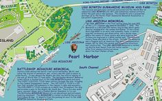 """Pearl Harbor history map, An Historical Account of the """"The Day of ... …"""