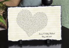 Customizable Slate Song Lyric Music Sign - Heart Lyric Plaque - Handmade and Personalized - 12\x8\