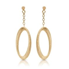 Italian Matte Finish Oval Dangle Earrings in 14k Yellow Gold
