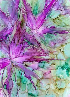 Il s'agit d'une peinture originale. J'aime les fleurs et toutes les combinaisons dans les encres alcool, il y a beaucoup dentre eux, donc mes peintures sont très lumineux et chaque tableau est différent et unique. L'alcool des encres sur papier yupo. Taille A4. Emmêlés dans une monture
