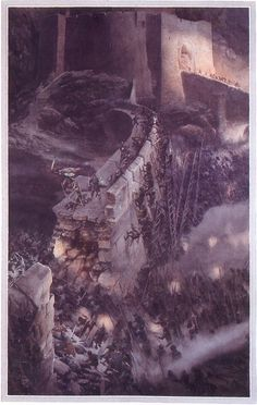 The Lord of the Rings - Alan Lee Art - Attacking Helm's Deep
