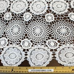 Open Matte Guipure Lace White Venice Lace Fabric with Scallop Edge - Emma by the yard- 1 Yard Style 2426