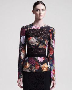ShopStyle: Dolce & Gabbana Lace-Inset Floral Blouse