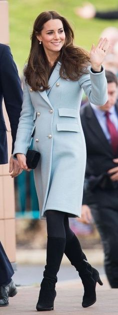 Matthew Williamson's 'wool blend coat' in a soft blue color, Stuart Weitzman Muse clutch, Aquatalia Rhumba boots, and green amethyst Kiki McDonough earrings
