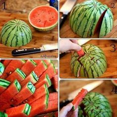 How to cut the watermelon into small fingers? I guess more often you do it the traditional way – slices or large chunks … simple but very ordinary. I usually cut off the watermelon peel first before cutting into strips, it's easy for kiddos little fingers so they can easily …