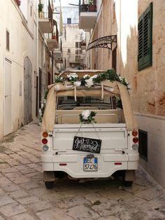Just Married by Ape Calessino!!  http://www.polignanomadeinlove.com/turismo-polignano/it/servizi/matrimoni-made-in-love.html #polignanomadeinlove #ilovepolignanoamare #weddinginpolignano #calessinomadeinlove #love #WeAreInPuglia #weareinpolignano #visitpuglia #discoveringpuglia #polignanolovers