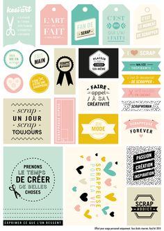 #Printable réalisé pour la marque de loisirs créatifs © Kési'art : une planche d'étiquettes à télécharger et imprimer ! Sur le thème du scrapbooking - Amélie Poirier poirieramelie.blogspot.fr