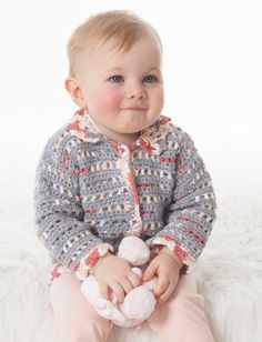 Yarnspirations.com - Bernat Baby's Lacy Jacket - Patterns  | Yarnspirations