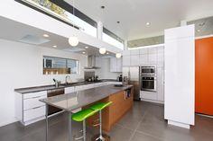 I want this in my dream home StainlessSteel Refrigerator Countertop PendantLight BreakfastBar ClerestoryWindows Hood Kitchen