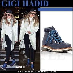 Gigi Hadid in blue lace up hiking boots and white coat