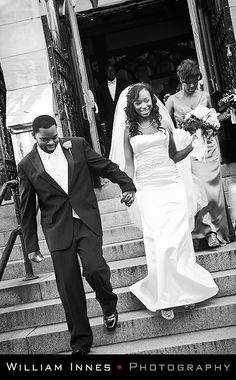 NEW YORK CITY Wedding. The service was held at the Convent Avenue Baptist Church in Harlem and the reception was at the Riverside Church. #NYCwedding #destinationwedding #innesphotography  #blackandwhite www.innesphotography.com