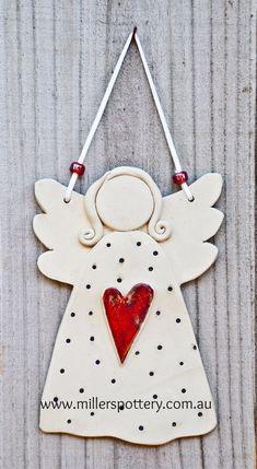 Australian handmade ceramic angel from www. - Australian handmade ceramic angel by www. Clay Christmas Decorations, Christmas Clay, Christmas Angels, Handmade Christmas, Angel Crafts, Diy And Crafts, Christmas Crafts, Christmas Ornaments, Handmade Crafts