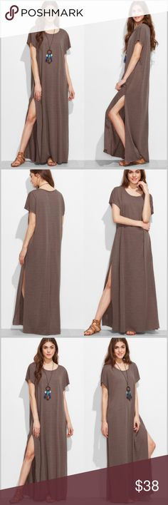 """🆕 Mocha Loose Fit Tee Maxi Dress Mocha Brown Maxi Dress  •Oversized loose fit •Scoop Neck •Raw cut hemlines •Slightly sheer •100% Polyester (but feels like a lightweight t-shirt material) •Slit up each side  Measurements: X-Small-  Bust: 43"""" Length: 56"""" Small-     Bust: 44.5"""" Length: 57"""" Medium- Bust: 46"""" Length: 57""""  ❗️Price is firm unless bundled❗️ #SR173735    ✔️ Dresses Maxi"""