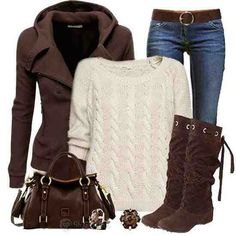 Love brown! Cute fit, I Want!