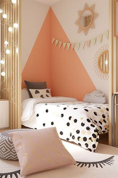 Chambre enfant style cocooning Discover the children's room furnished in a cocooning style by our interior decorator Hélène during the episode of Battle Déco. Girl Bedroom Designs, Girls Bedroom, Bedroom Decor, Bedroom Colors, Nursery Decor, Bedroom Ideas, Kids Room Design, Girl Room, Child Room