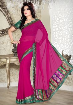 Dark Pink Faux Chiffon Saree with Blouse @ $35.98