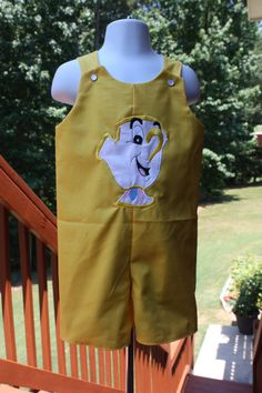 Chip from Beauty and the Beast Boys Shortall by castleseamstress, $35.00