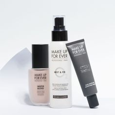 Quick waterproof - shine proof combination of Step 1 Mattifying Primer, Water Blend Foundation and Mist&Fix