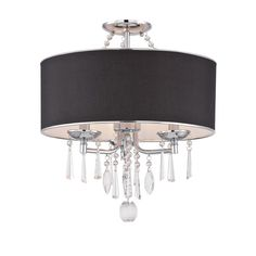 World Imports Elton Collection 3-Light Chrome Semi-Flush Mount Light with Black Shade-WI974908 - The Home Depot