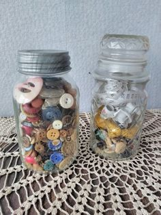 Mason jar of vintage buttons and jar of vintage sewing notions These look really cute on ladder rungs   To rent this or any other items on this board, please call me at 801.427.2276