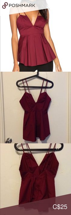 Kendall + Kylie Burgundy Peplum Tank Top Plunging, spaghetti-strap tank top in a burgundy colour. Adjustable straps & zipper back. Kendall, Kylie, Burgundy Colour, Plus Fashion, Fashion Tips, Fashion Trends, Spaghetti, Peplum, Camisole Top
