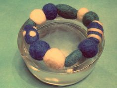 wool bracelet, beads were made by the wet felting technique and the accents with needle felting, fun accessory for any outfit