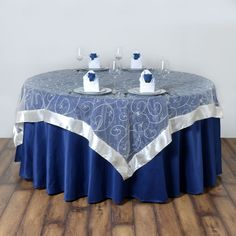 Catering Table, Party Catering, Wedding Catering, Blue Tablecloth, Reception Party, Party Tables, Banquet Tables, Table Overlays, Embroidered Leaves
