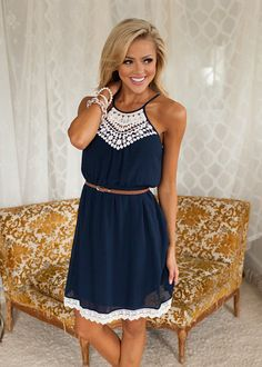Online boutique. Best outfits. Lovable Lady Dress Navy - Modern Vintage Boutique