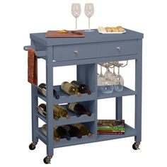 Features:  -Elegant and functional.  -Wire wine glass holders that hold up to 6 stemmed glasses.  -One drawer.  Product Type: -Wine Bottle Rack.  Material: -Manufactured wood.  Wine Bottle Capacity: -
