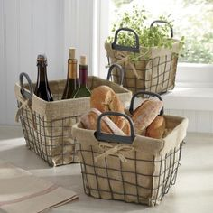 wire baskets with burlap inserts