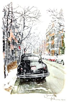 Paper Fashion | Another scene from a recent snow in Boston. This was a shot I took of a vintage Chrysler on a small residential street in Beacon Hill. The owner somehow stumbled upon my painting- the internet is a cool place, huh?