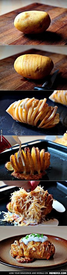 The perfect baked potato. Wash and scrub the potato, slice into thin slices making sure not to cut all the way through, place in a baking dish and fan out the slices, sprinkle with salt/herbs and drizzle with butter. Bake at 425 for about 50 minutes. Remove from the oven and sprinkle with cheeses or whatever toppings you like. Bake for another 15 minutes or until cheeses are melted/potato is soft