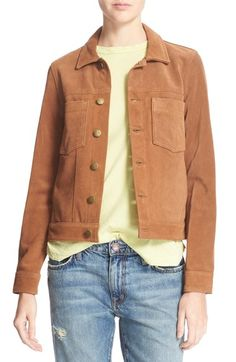 Current/Elliott 'The Angled Trucker' Calfskin Leather Jacket