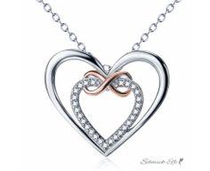 Anhänger Infinity Herz mit Zirkonias mit Rosegold Teil...