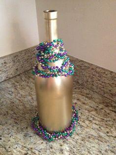 Mardi Gras gold wine bottle